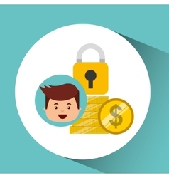 Business man secure money coins clock vector