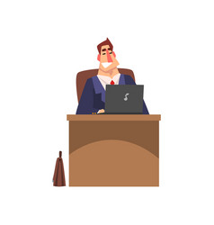 businessman working on a laptop computer vector image