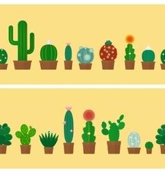 Cactus horizontal background vector