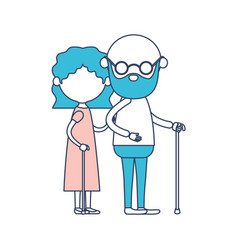 caricature faceless full body elderly couple with vector image