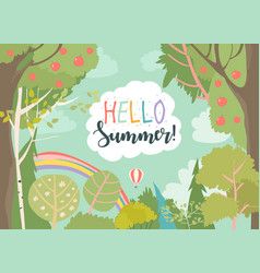 cartoon frame with summer forest and rainbow vector image