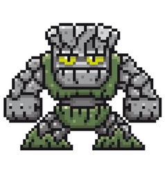 Cartoon stone monster - pixel design vector