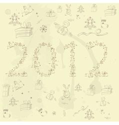 cartoon style inscription 2012 vector image