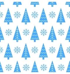 Christmas tree and snowflake seamless vector image