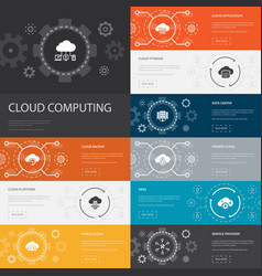 cloud computing infographic 10 line icons banners vector image
