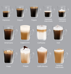 coffee types set realistic isolated vector image