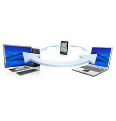 computer laptop and cell phone connecting vector image