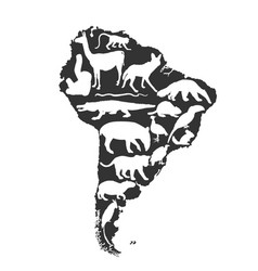 Continent map southern america silhouette animals vector