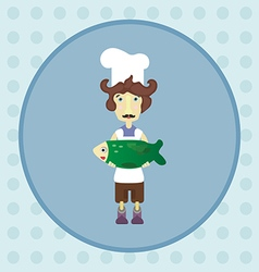 Cook with green fish vector