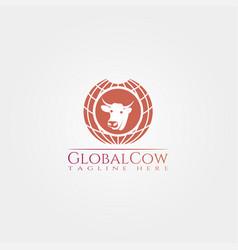 Cow farm icon template cattle farm symbol global vector