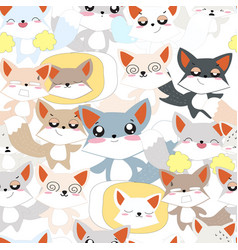 cute funny fox character pattern vector image
