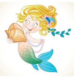 Cute little mermaid holding a shell vector image vector image