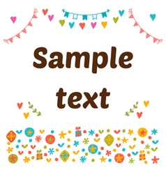 Cute postcard with colored design elements vector