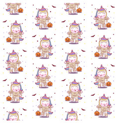 Cute unicorn use mummy costume in halloween party vector