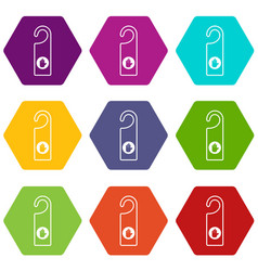 do not disturb sign icon set color hexahedron vector image