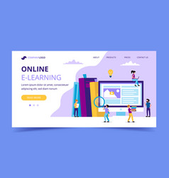 e-learning landing page concept for vector image