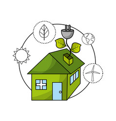 Ecological house with environment care icons vector