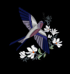embroidery with beautiful swallow birds vector image