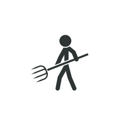 farmer with pitchfork icon simple gardening vector image