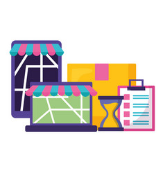 Fast delivery devices app vector
