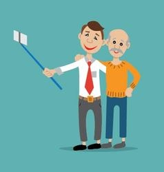father and son posing for a selfie vector image