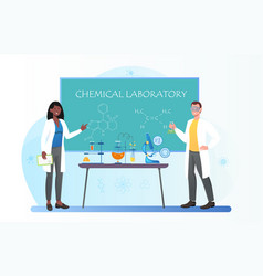 Female chemistry teacher and student in safety vector