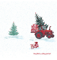 Festive new year 2019 card red tractor with fir vector
