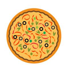 Flat color pizza icon vector