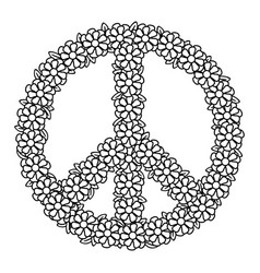 Floral peace symbol vector