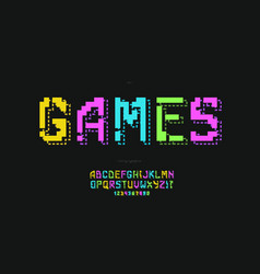 Games font 3d bold colorful style vector