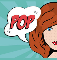 Girl bubble speech pop art comic style vector