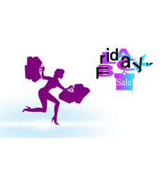 girl with the packages runs with black friday vector image