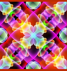 Glowing colorful floral 3d seamless pattern vector