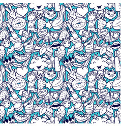 Graffiti seamless pattern with girlish doodles vector