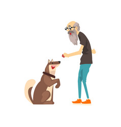 grandfather training his dog lonely senior man vector image