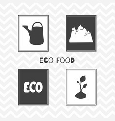 hand drawn silhouettes eco food posters vector image