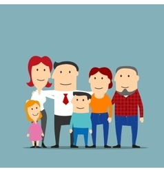Happy multigenerational family cartoon portrait vector