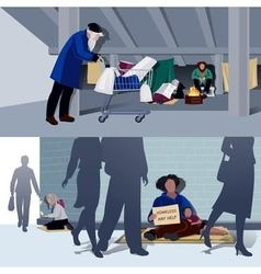 Homeless People Flat Compositions vector image