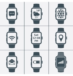 icon set of smart watches vector image vector image