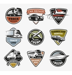 Isolated Transport Retro Logos Set vector