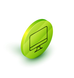 Isometric line computer monitor screen icon vector