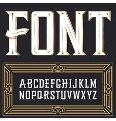label font with ornament vector image