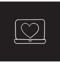 Laptop with heart symbol on screen sketch icon vector image