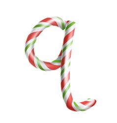 Letter q 3d realistic candy cane alphabet vector