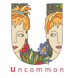 Letter U uncommon vector