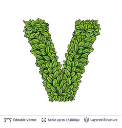 Letter v symbol of green leaves vector