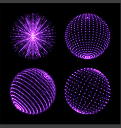 light sphere ball with dot connection neon light vector image