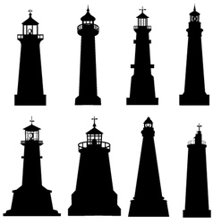 Lighthouse silhouette set vector