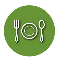 Line icon tableware fork plate and tablespoon vector