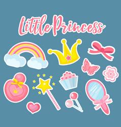 little princess set modern fashionable stickers vector image